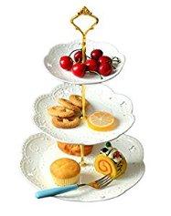 Jusalpha 3-tier Porcelain Cake Stand-cupcake Stand- Dessert Stand-tea Party Serving Platter (3RW Gold)