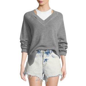 Long-Sleeve Wool Raglan毛衣