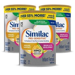 立减$50+额外9.5折Similac 非转基因配方奶粉促销 34.9盎司大罐平均$24.3/罐