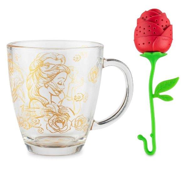 美女与野兽 马克杯+玫瑰花滤茶器