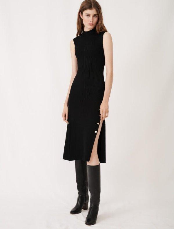 黑色针织连衣裙