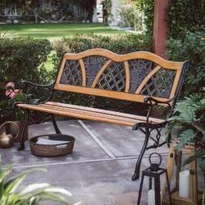 $53Coral Coast Clemens Wood and Metal Garden Bench