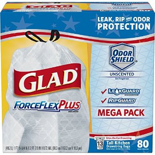 80-Ct 13-Gal Glad ForceFlexPlus Tall Kitchen Drawstring Trash Bags