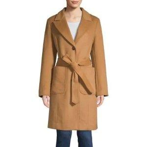 London Fog标价按75折计算睡衣风驼色羊毛大衣