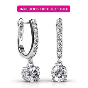 bad13eae3 Jade MarieJade Marie ASTONISHING Silver Dangle Brilliant Round Crystal  Earrings, 18k White Gold Plated Horseshoe