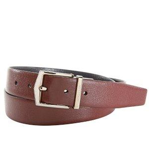 BurberryMen's Belts London Leather in Burgundy/Black