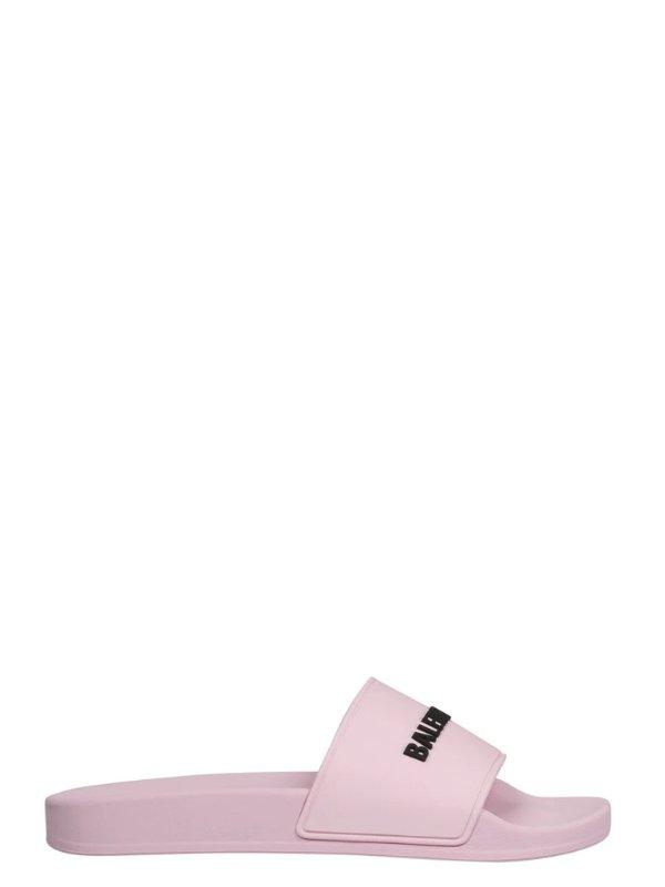 Logo Printed粉色拖鞋