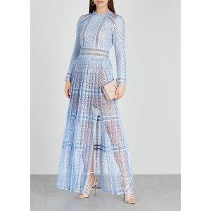 Self-PortraitLight blue guipure lace maxi dress
