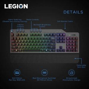 折后€84.99 红轴触发超快Lenovo Legion K500 RGB 机械键盘 全键独立RGB调光