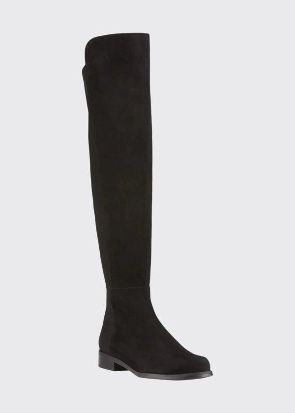 5050 麂皮拼接过膝靴