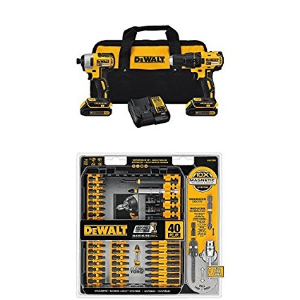Today Only:$165DEWALT DCK277C2 20V MAX Compact Brushless Drill and Impact Combo Kit and IMPACT READY FlexTorq Screw Driving Set, 40-Piece