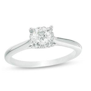 $599.99独家:Zales 白金钻石戒指 3/8克拉