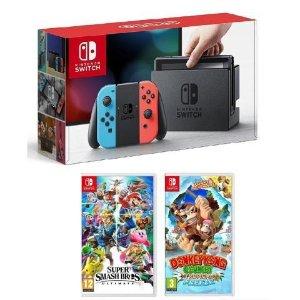 $399免税包邮 送$40礼卡 双色可选Nintendo Switch + 明星大乱斗 + 大金刚国度: 热带寒流