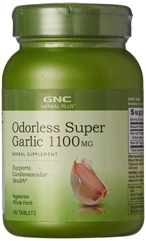 GNC Herbal Plus Odorless Super Garlic 1100mg, 100 Tablets, Supports Cardiovascular Health