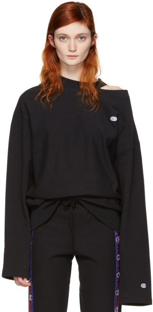 Vetements: Black Champion Edition Cut Out Neckline Pullover | SSENSE
