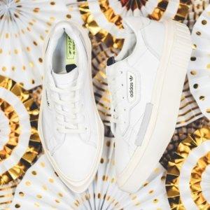 $130+包邮adidas官网 三叶草厚底小白鞋