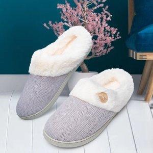 $23.99起(原价$25.99) 5色选Wofengsun 针织毛毛拖鞋 踩屎感记忆海绵鞋垫 温暖不冻jio