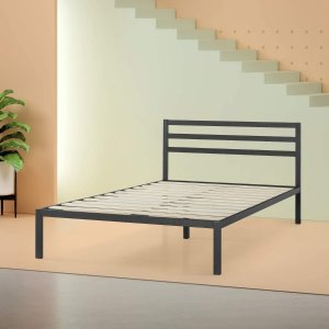 Zinus Mia Modern Studio 14 Inch Platform 1500H Metal Bed Frame With Headboard, Twin