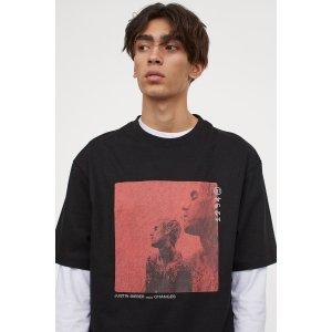 H&M黑色比伯changg封面T恤