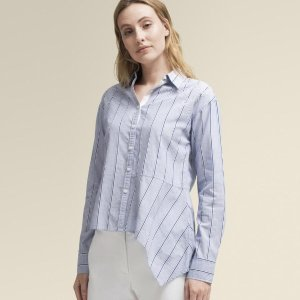 Donna Karan条纹不规则长袖衬衫