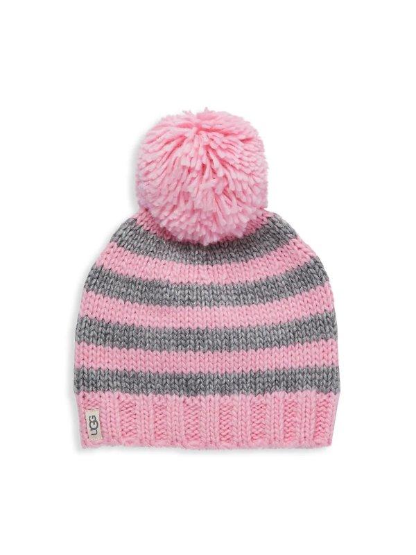 可爱毛球帽子