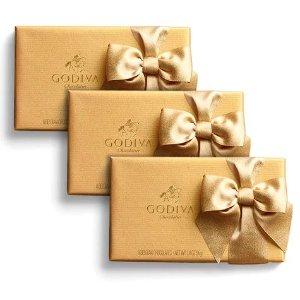 Godiva金色蝴蝶结礼盒  8颗 共三盒