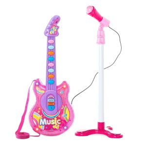 Best Choice Productscode: MOONMUSIC19in Kids Toddlers Musical Flash Guitar Pretend Play Toy w/ Mic, Stand