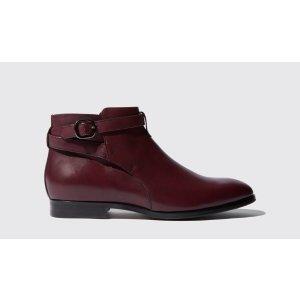 酒红色短靴