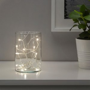 LEDFYR LED string light with 12 lights - indoor, battery operated silver color - IKEA