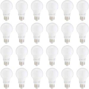 $28.62(原价$38.99)史低价:AmazonBasics A19 60瓦等效 日光色 LED节能灯 24件套