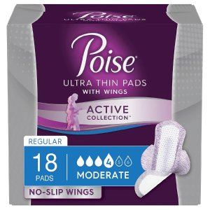 PoiseActive Collection Moderate Absorbency Incontinence Pads with Wings