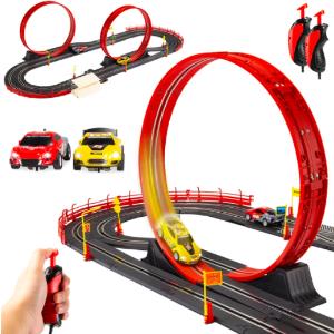 $39.99+包邮 将近1.2米长Best Choice Products 电动车轨道玩具套装 含2辆车+2个控制器