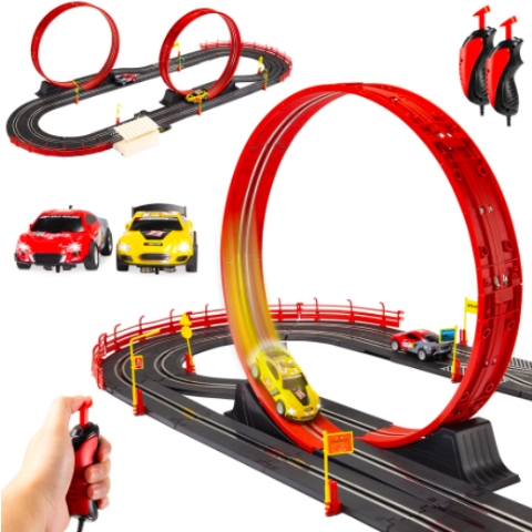 Best Choice Products Electric Slot Car Race Track Set Kids Toy w/ 2 Cars, 2 Controllers