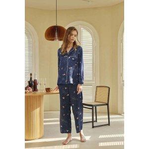 Sky Swim Printed Silk-Satin Pajama Set