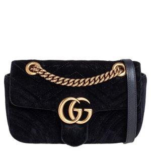 GucciGG Marmont 丝绒链条包