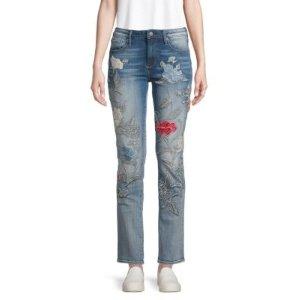 Driftwood刺绣牛仔裤