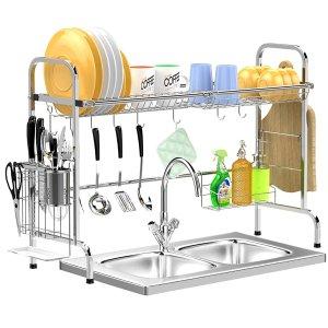 GSlife 大容量不锈钢厨房滤水架 带餐具架和砧板架