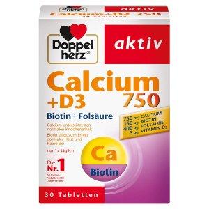 DoppelherzCalcium 750 + D3 无麸质钙片 30片装