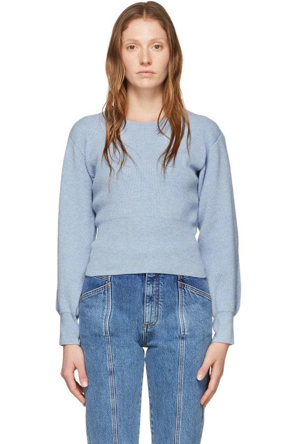 蓝色羊绒斜袖圆领毛衣