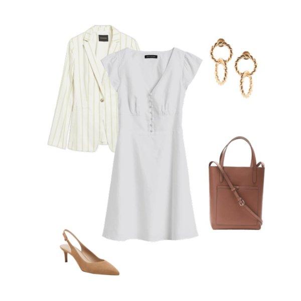 纽扣白色连衣裙