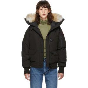 Canada Goose黑色带毛领羽绒服