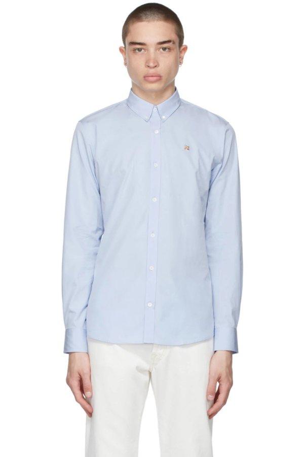 蓝狐头刺绣经典衬衫