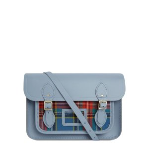 Cambridge Satchel13 Inch Magnetic Satchel in Leather 剑桥包 - French Grey with Tartan Pocket