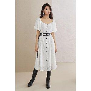 Ecru Emissary白色雪纺泡泡袖连衣裙