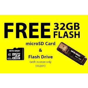 仅实体店可用Microcenter 32GB SD 卡 和 U盘 免费