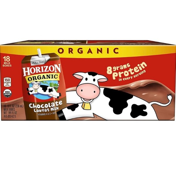 Horizon Organic 巧克力味有机低脂奶 8oz 18盒