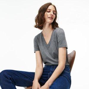 ddf39416001d LacosteWomen's Slim Fit V-Neck Cotton Jersey T-shirt. $33.99 $49.50. Lacoste  Women's ...