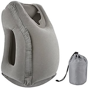 Amazon.com: Simptech Inflatable Travel Pillow, Ergonomic and Portable Head Neck Rest Pillow,Patented Design for Airplanes, Cars, Buses, Trains, Office Napping, Camping (Grey): Home & Kitchen