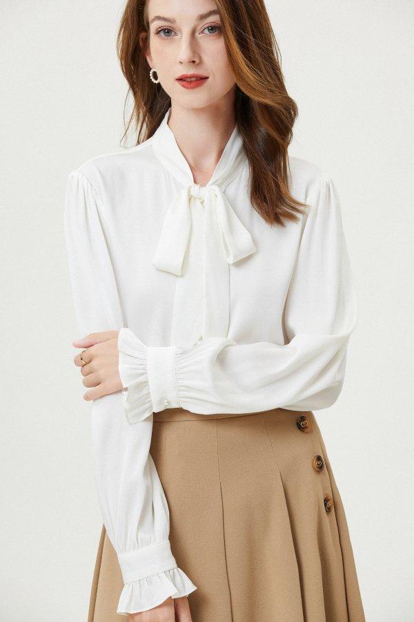 白色秀气珍珠真丝衬衫