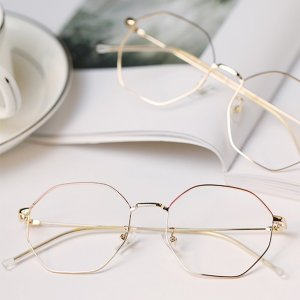 Finale | Red/Gold Metal Eyeglasses | Polygon Glasses | Glasses Online | Dualens